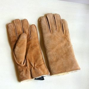 Suede leather tan fleece lined gloves
